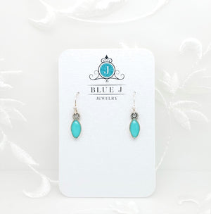 Antique Silver Tiny Drop Earrings with Turquoise Resin