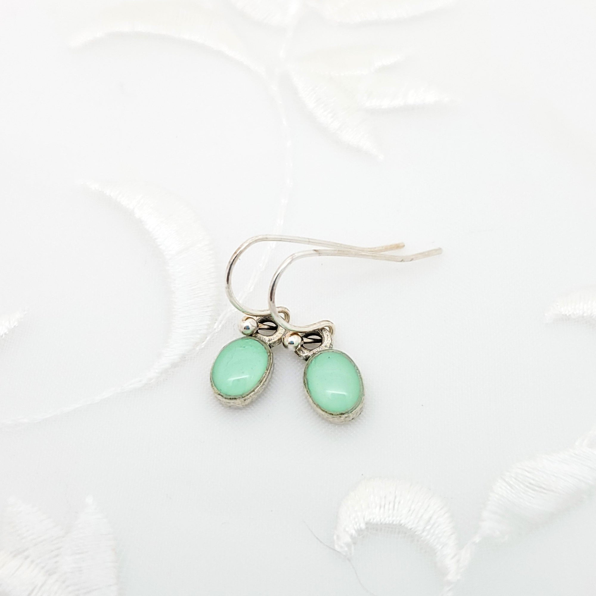 Antique Silver Tiny Oval Earrings with Mint Green Resin