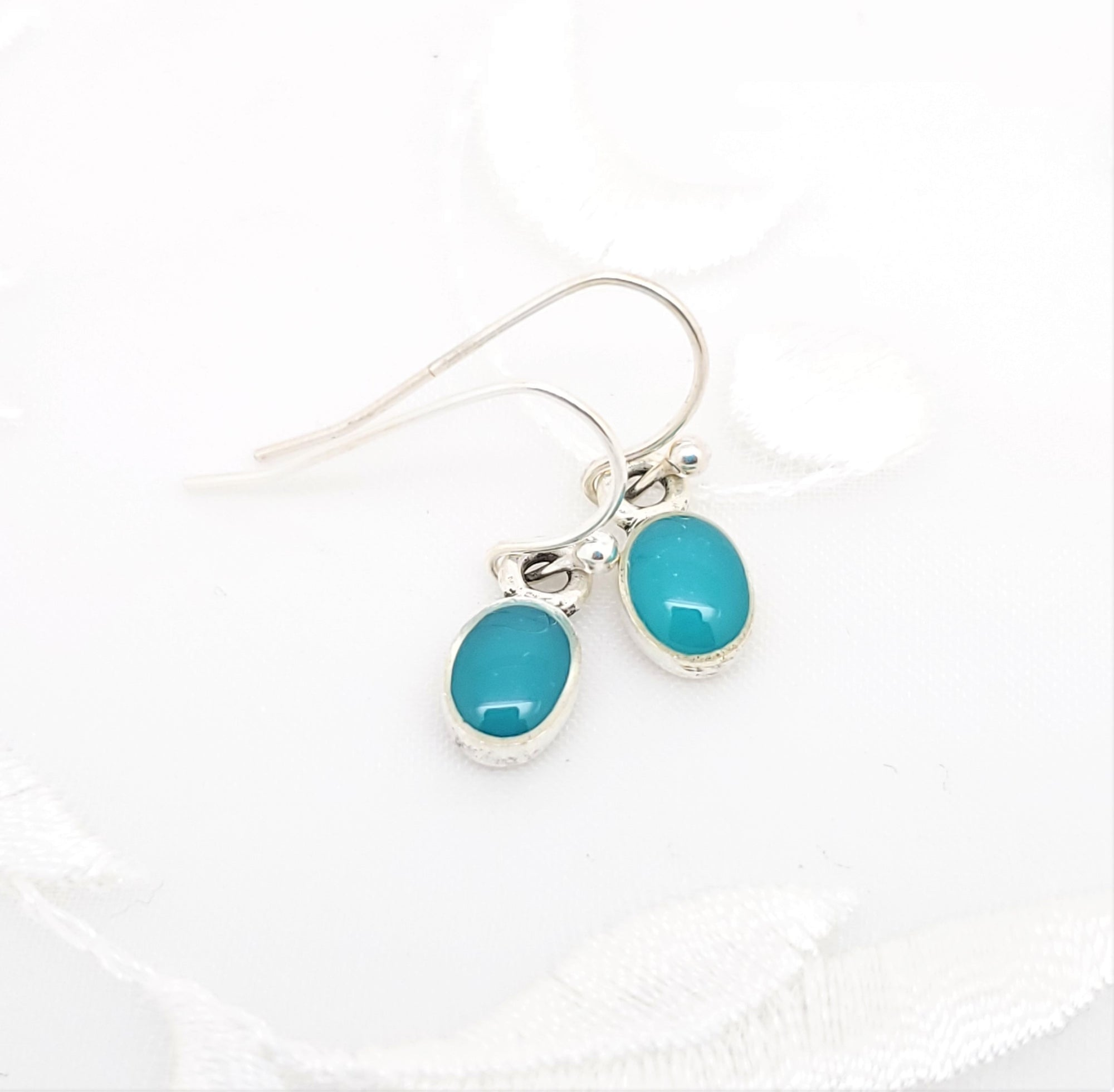 Antique Silver Tiny Oval Earrings with Turquoise Blue Resin