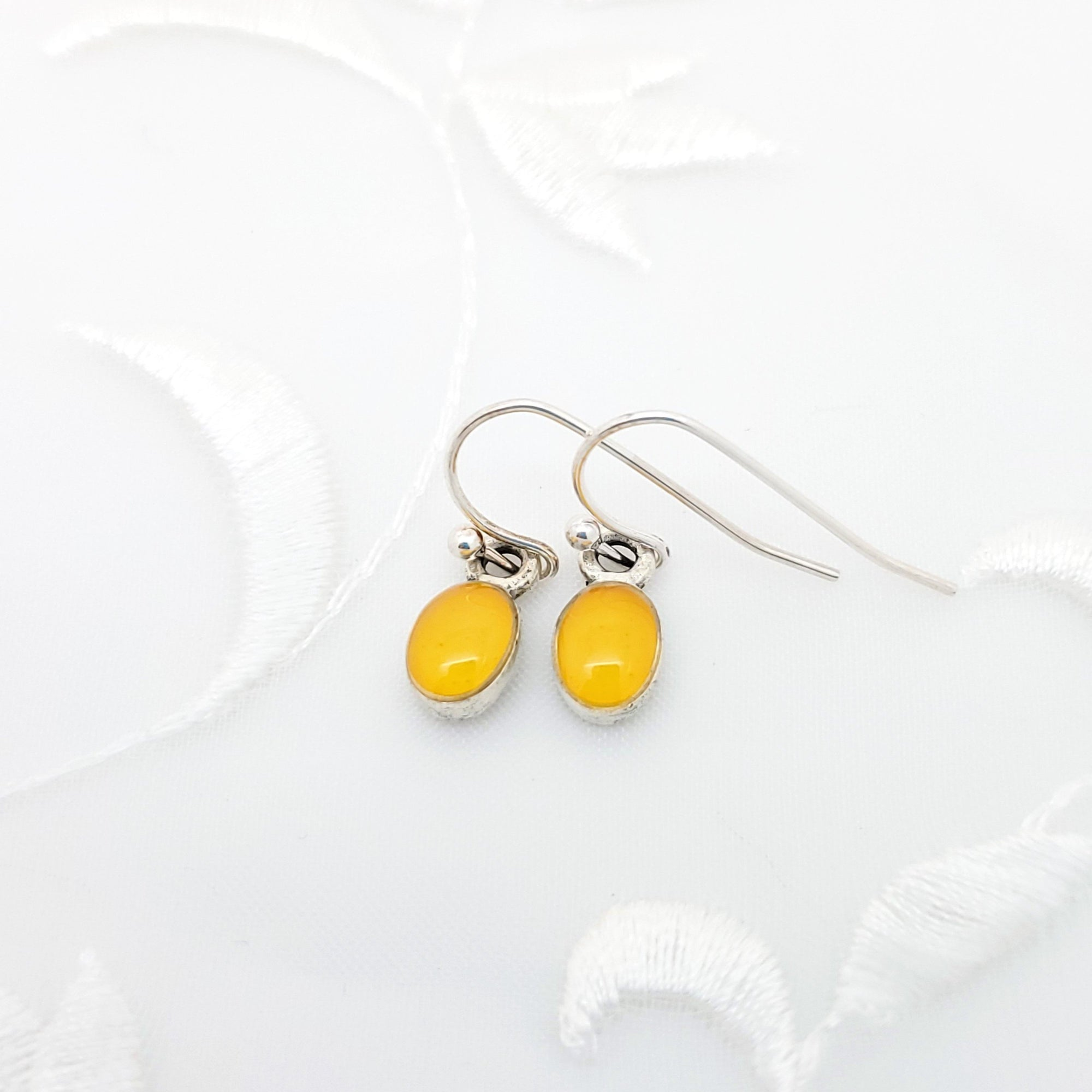 Antique Silver Tiny Oval Earrings with Yellow Resin