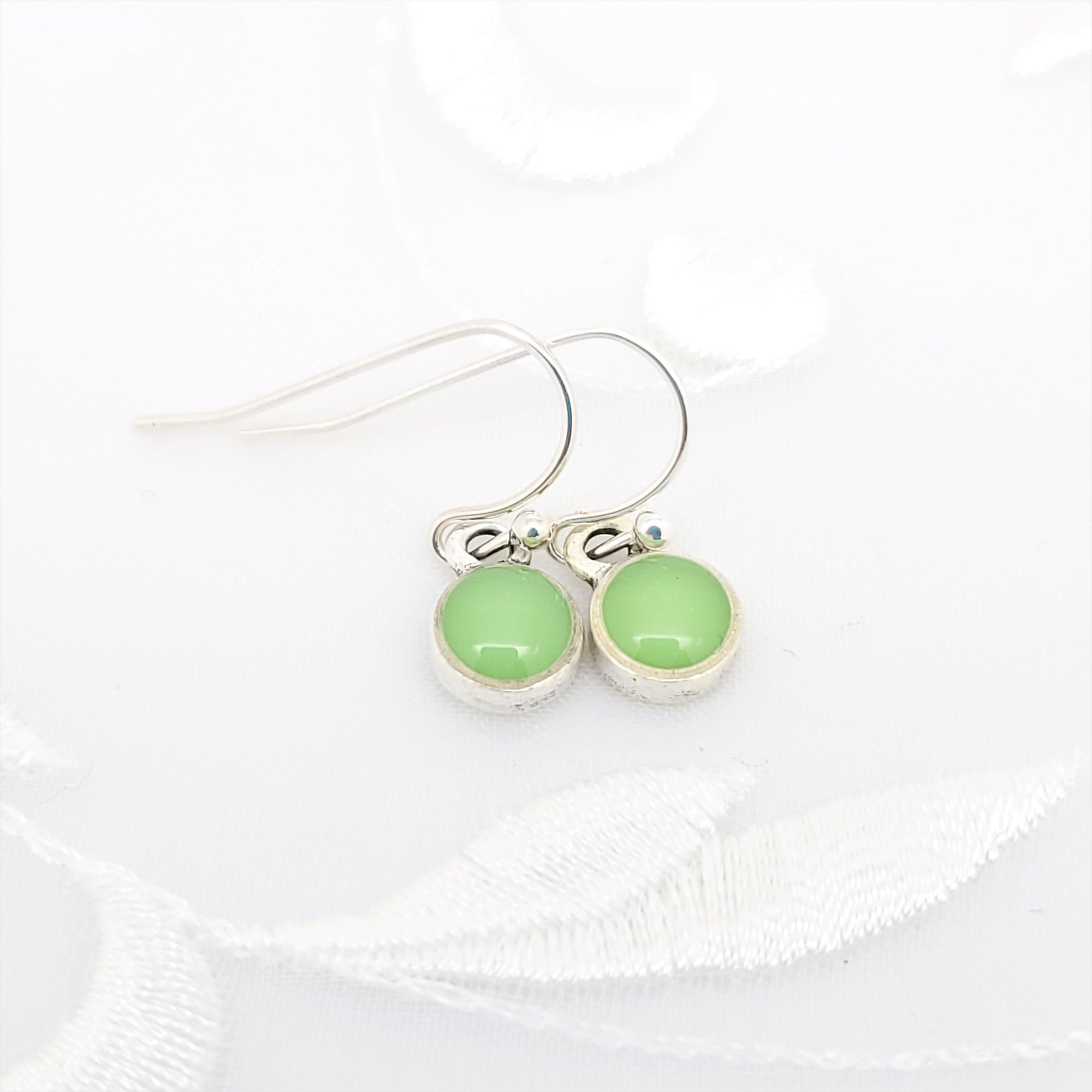 Antique Silver Tiny Round Earrings with Lime Green Resin