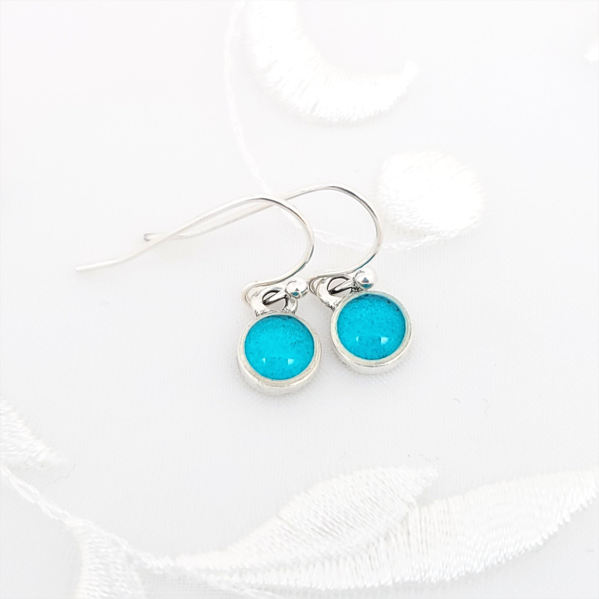 Antique Silver Tiny Round Earrings with Transparent Sky Blue Resin