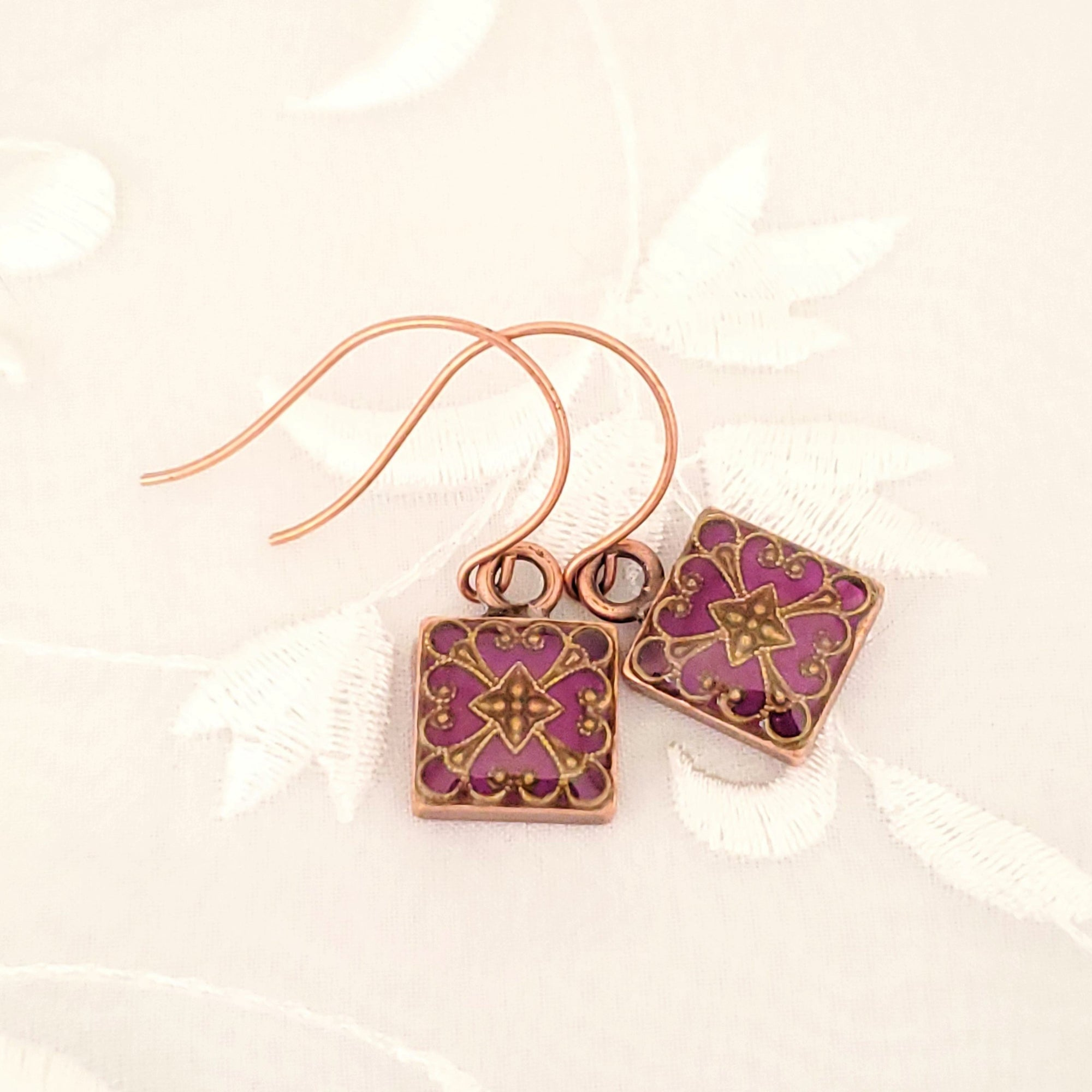 Antique Copper Square Earrings with Filigree and Purple Resin
