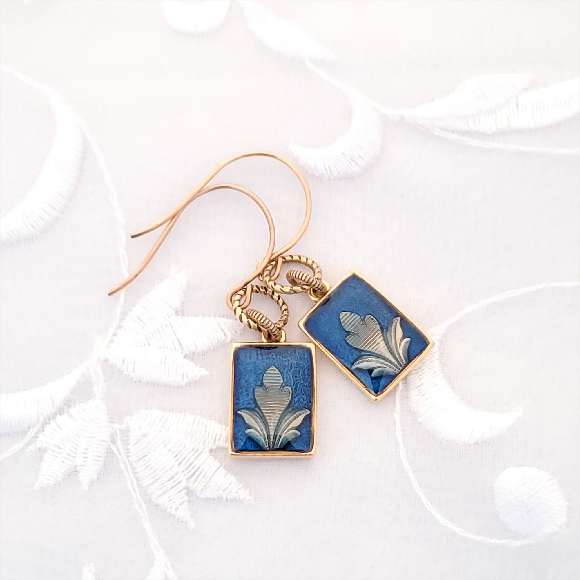 Antique Gold Rectangle Earrings with Dark Blue Resin