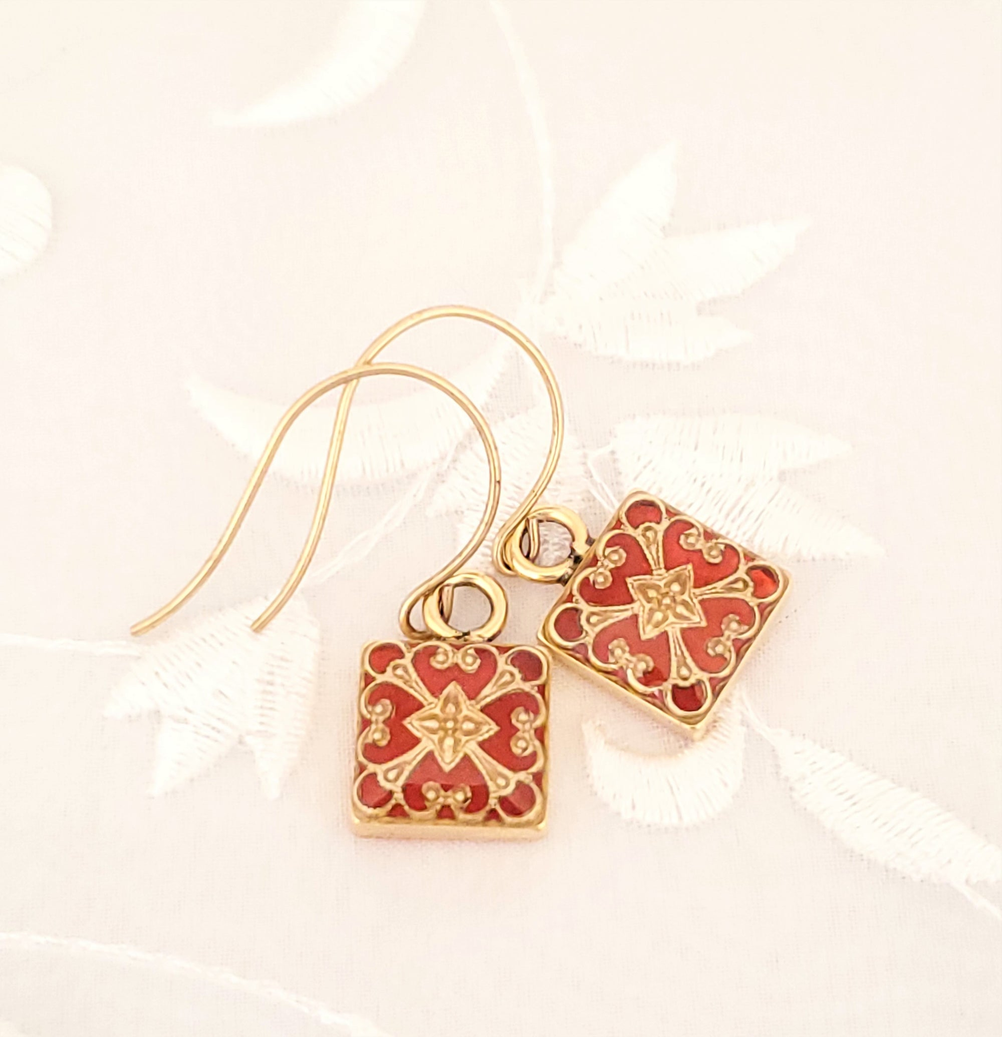 Antique Gold Square Earrings with Filigree and Orange Resin