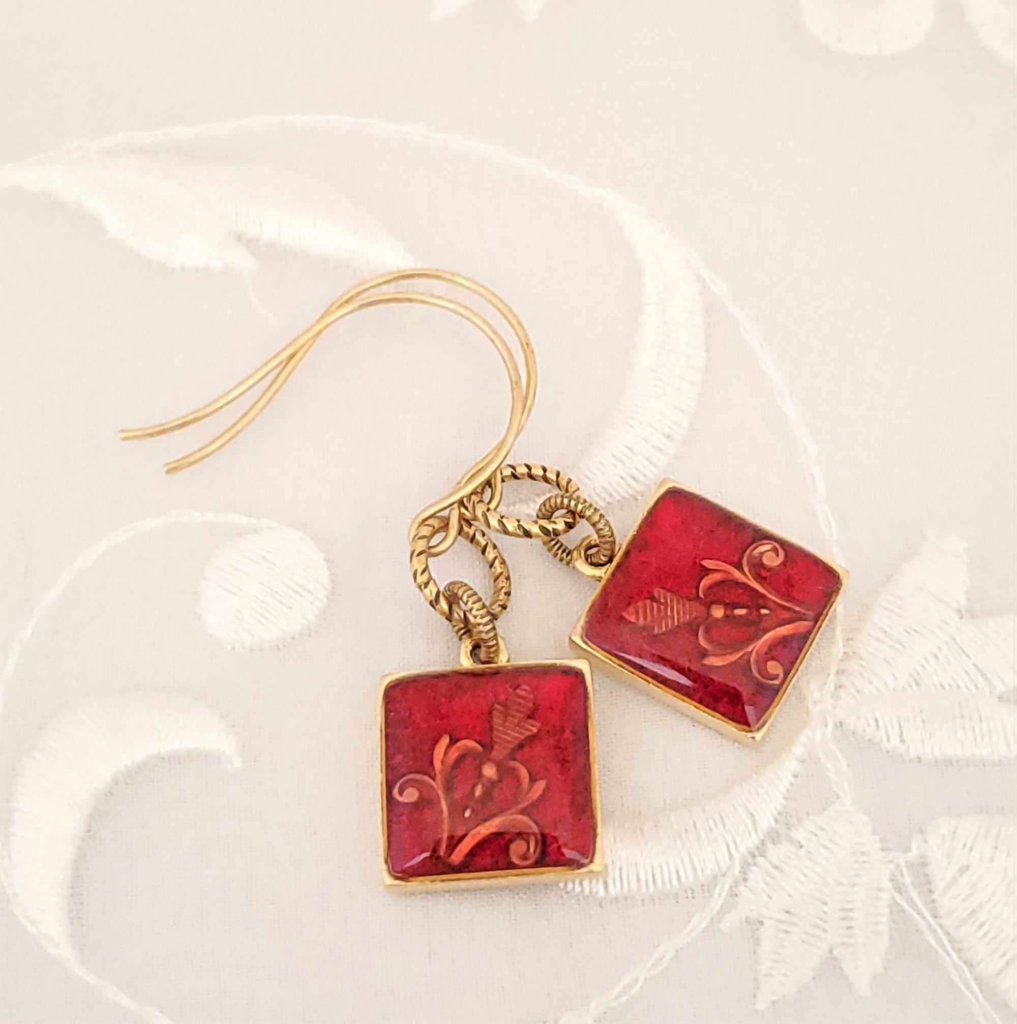 Antique Gold Square Earrings with Red Resin