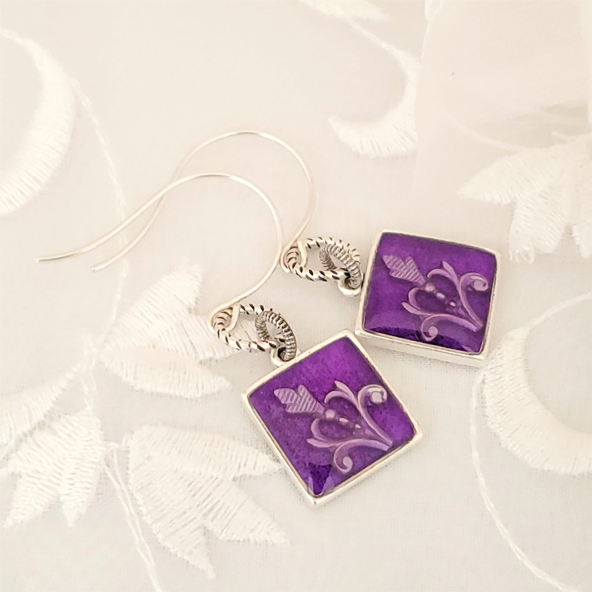 Antique Silver Square Earrings with Purple Resin