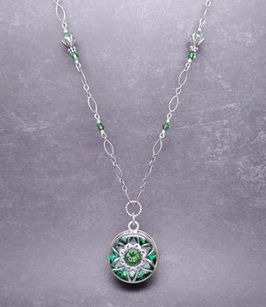 Sterling Silver Erinite Kaleidoscope Pendant Necklace