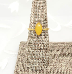 Antique Gold Navette Ring with Yellow Resin