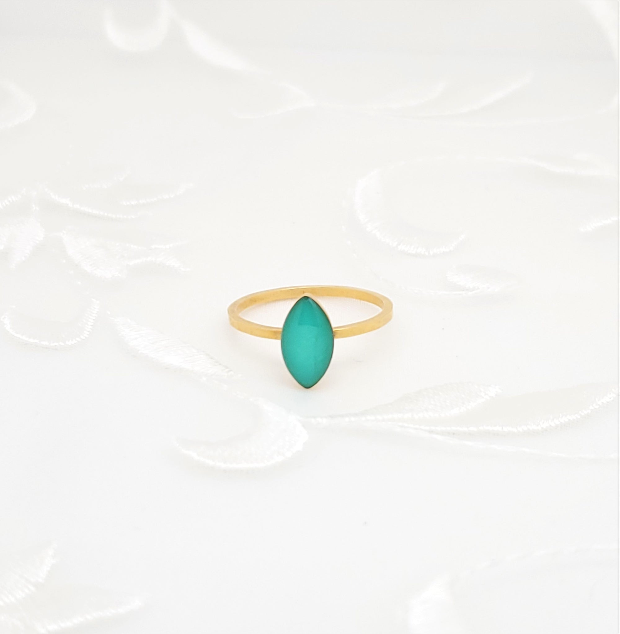Antique Gold Navette Ring with Turquoise Resin