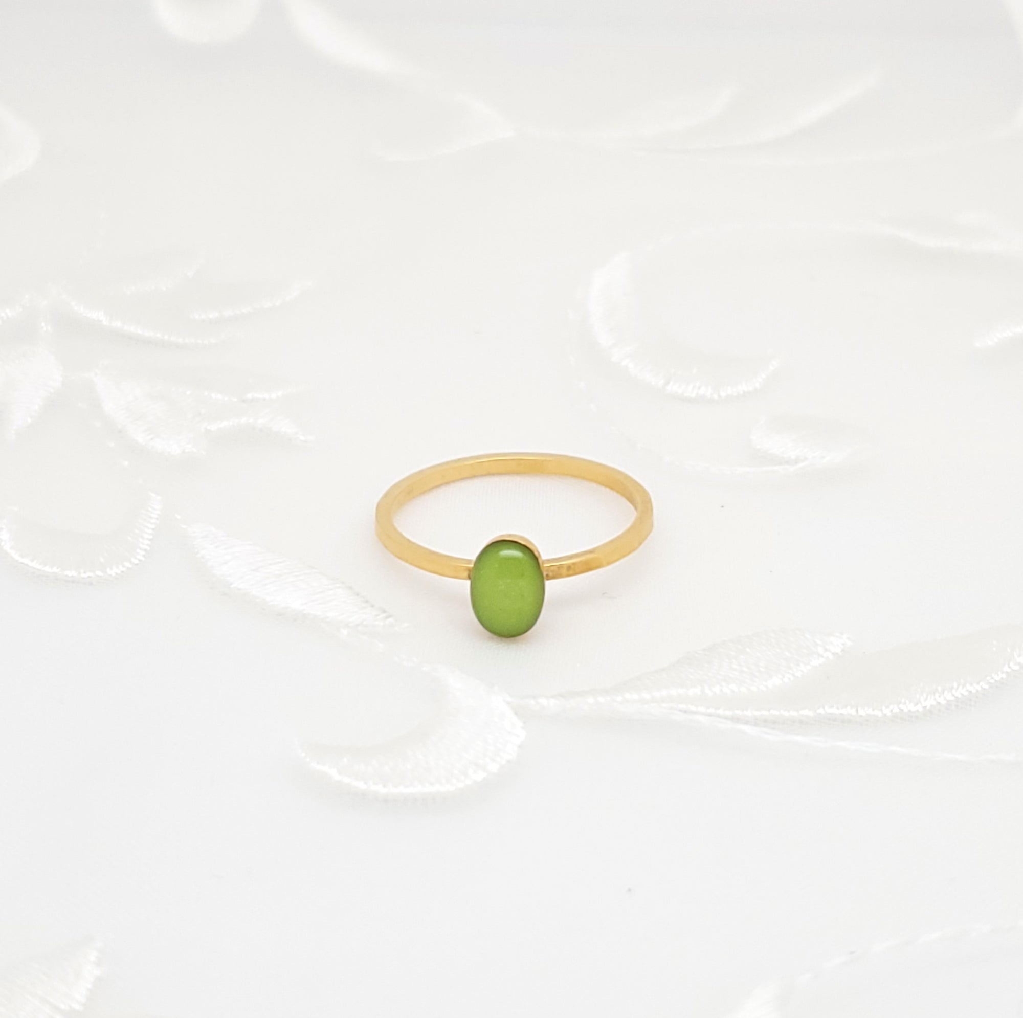 Antique Gold Oval Ring with Lime Green Resin