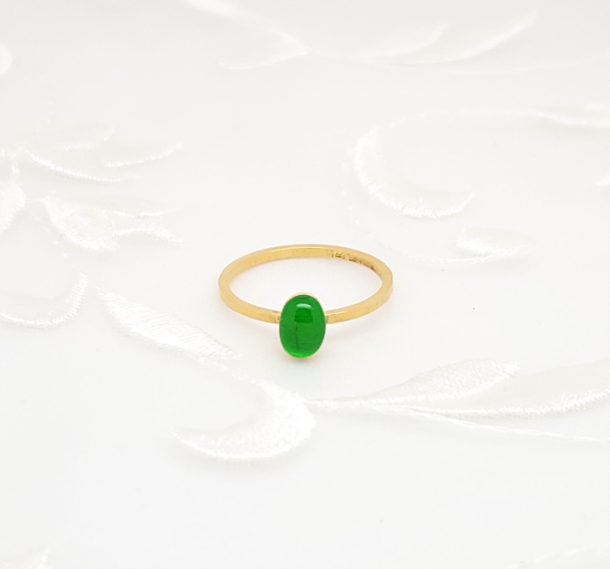 Antique Gold Oval Ring with Transparent Grass Green Resin
