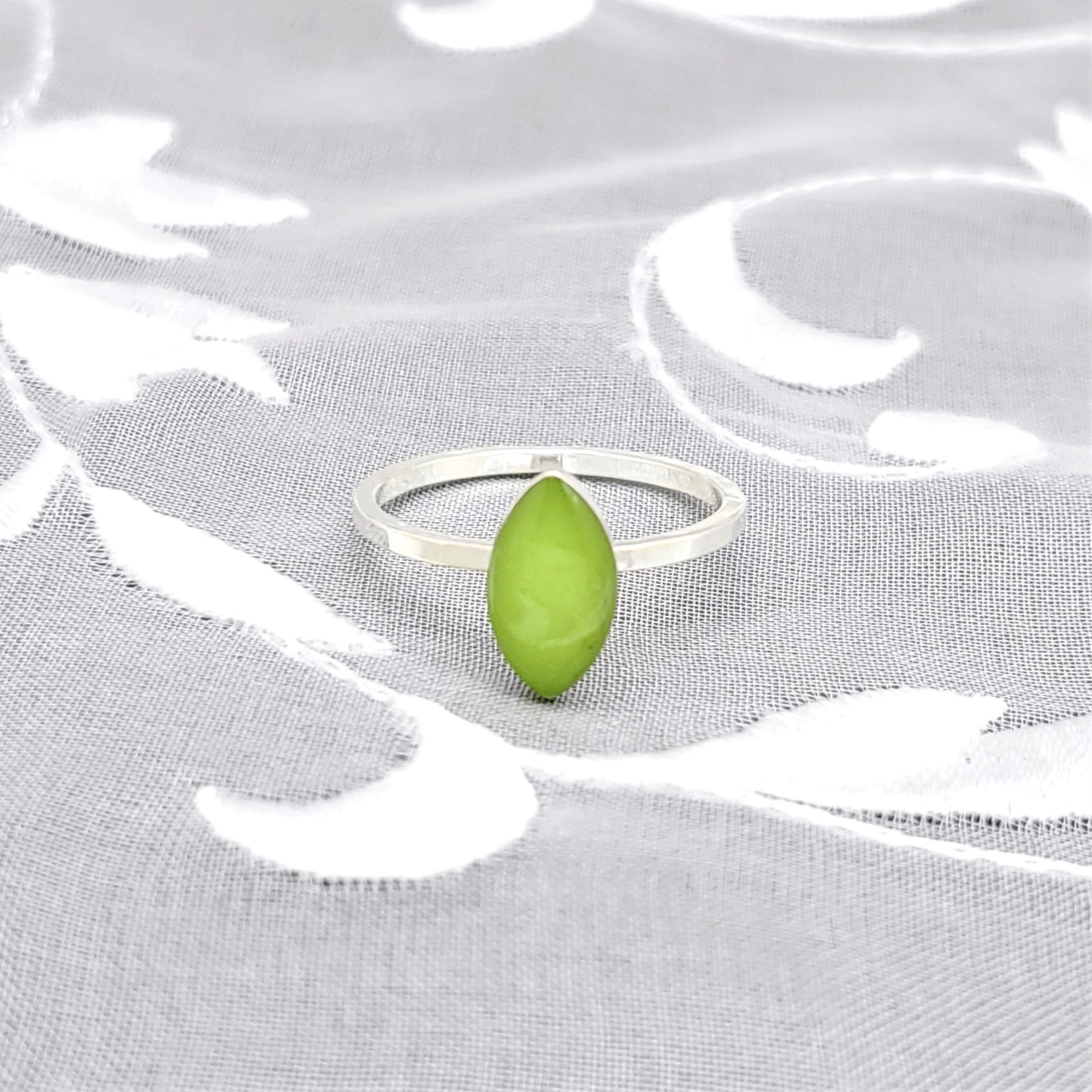 Sterling Silver Plated Navette Ring with Lime Green Resin