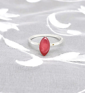 Sterling Silver Plated Navette Ring with Pink Resin