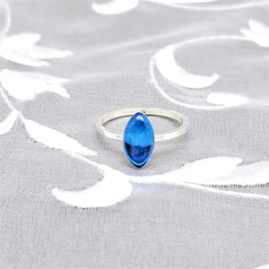 Sterling Silver Plated Navette Ring with Transparent Sapphire Blue Resin