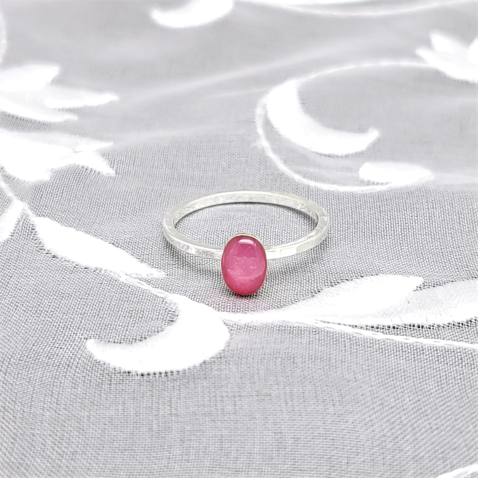 Sterling Silver Plated Oval Ring with Pink Resin