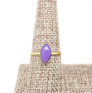 Antique Gold Navette Ring with Purple Resin