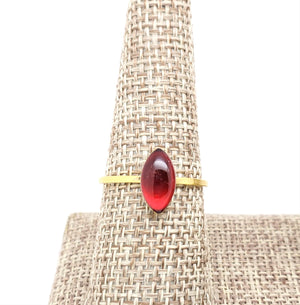 Antique Gold Navette Ring with Transparent Red Resin