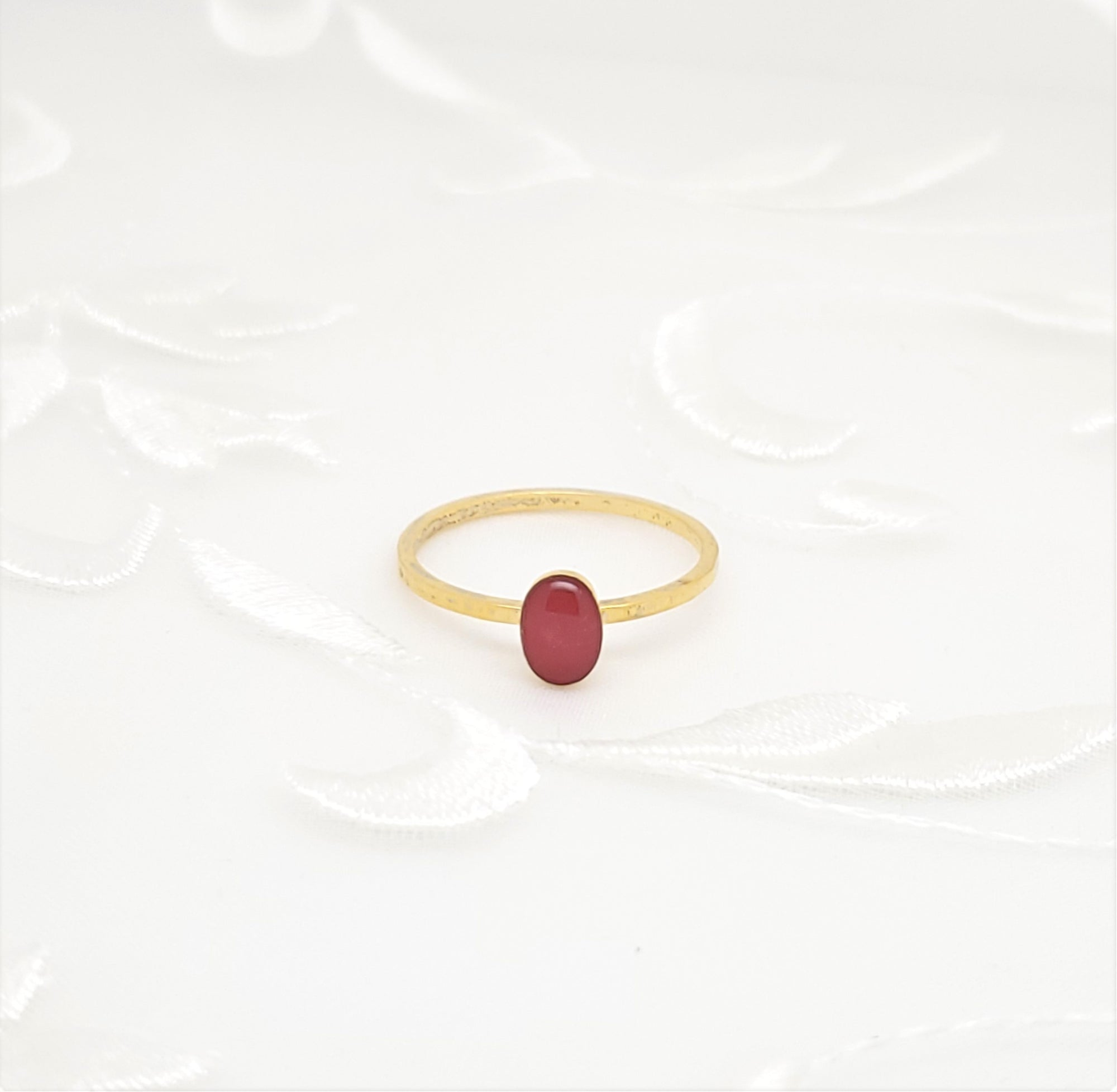 Antique Gold Oval Ring with Pink Resin