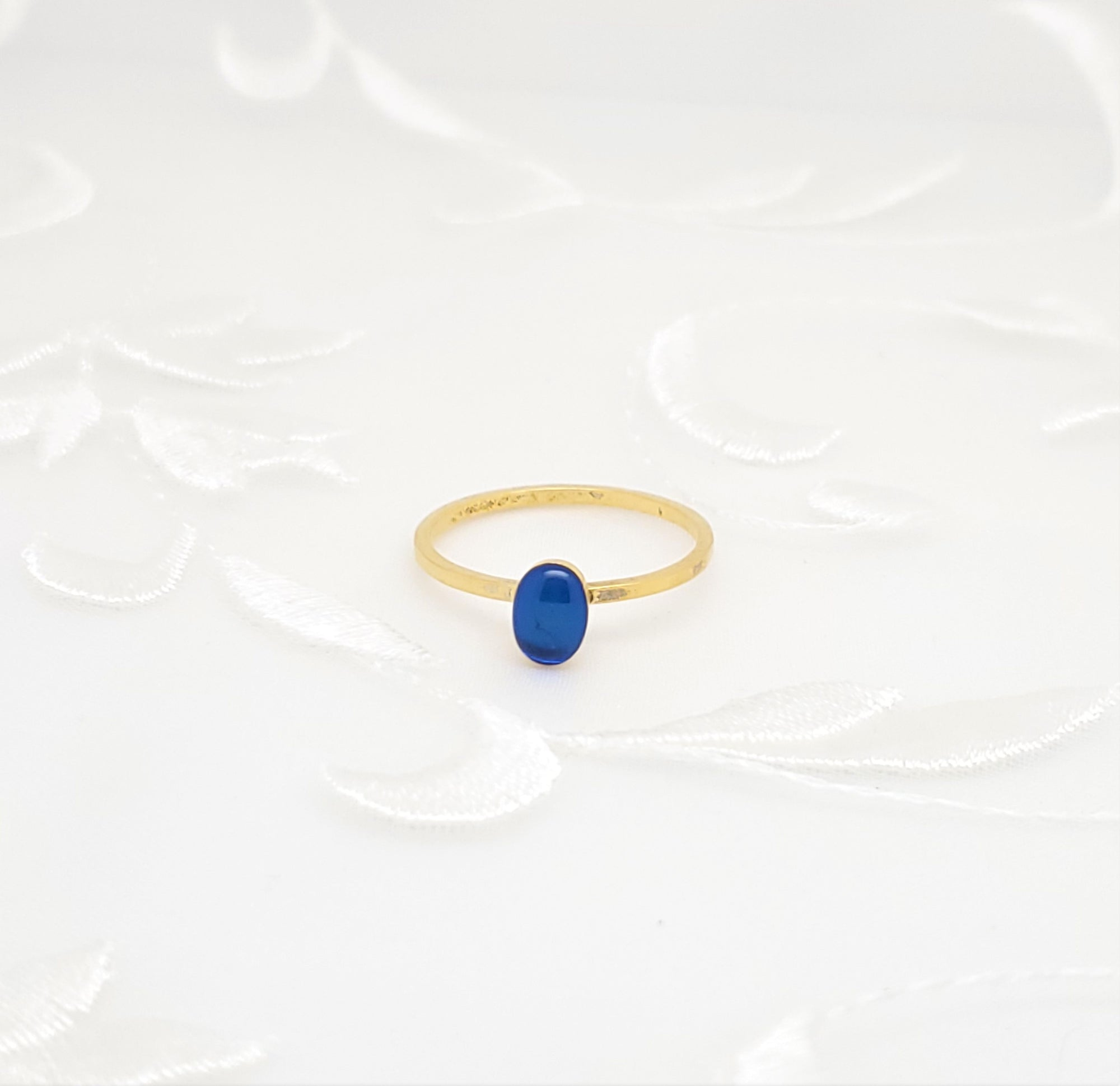Antique Gold Oval Ring with Transparent Sapphire Blue Resin