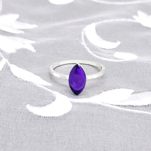 Sterling Silver Plated Navette Ring with Transparent Dark Purple Resin