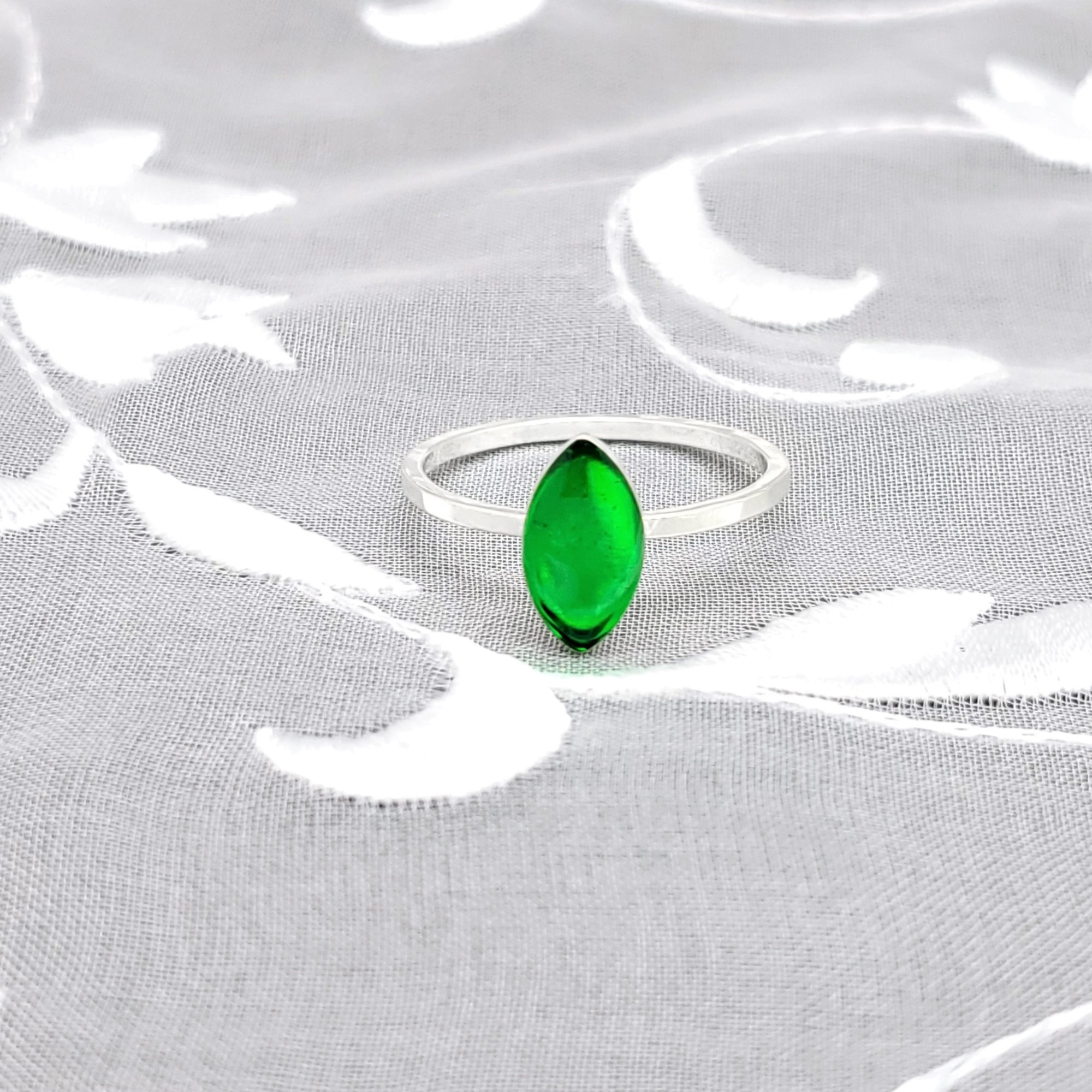 Sterling Silver Plated Navette Ring with Transparent Green Resin