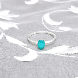 Sterling Silver Plated Oval Ring with Sky Blue Resin