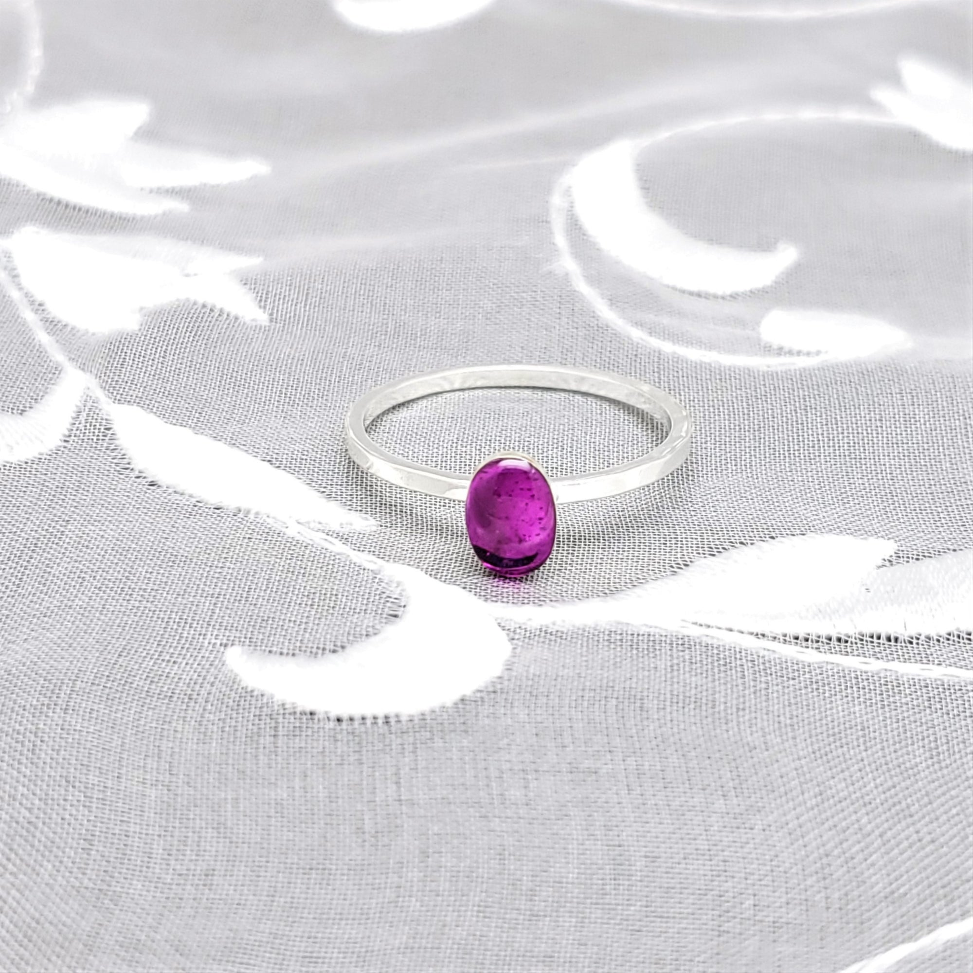 Sterling Silver Plated Oval Ring with Transparent Fuchsia Resin