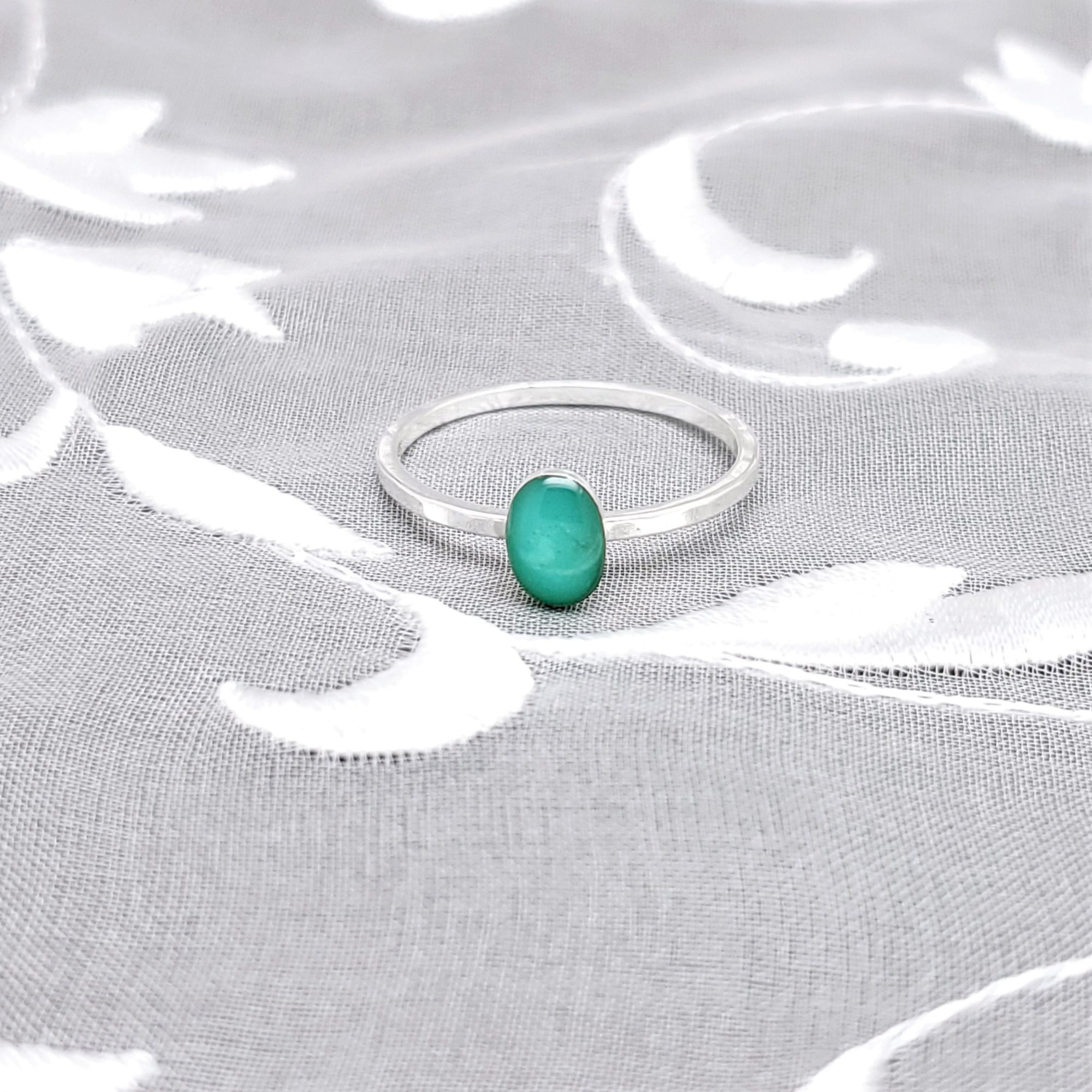 Sterling Silver Plated Oval Ring with Turquoise Green Resin