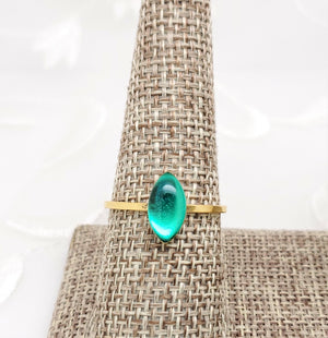Antique Gold Navette Ring with Transparent Green Resin