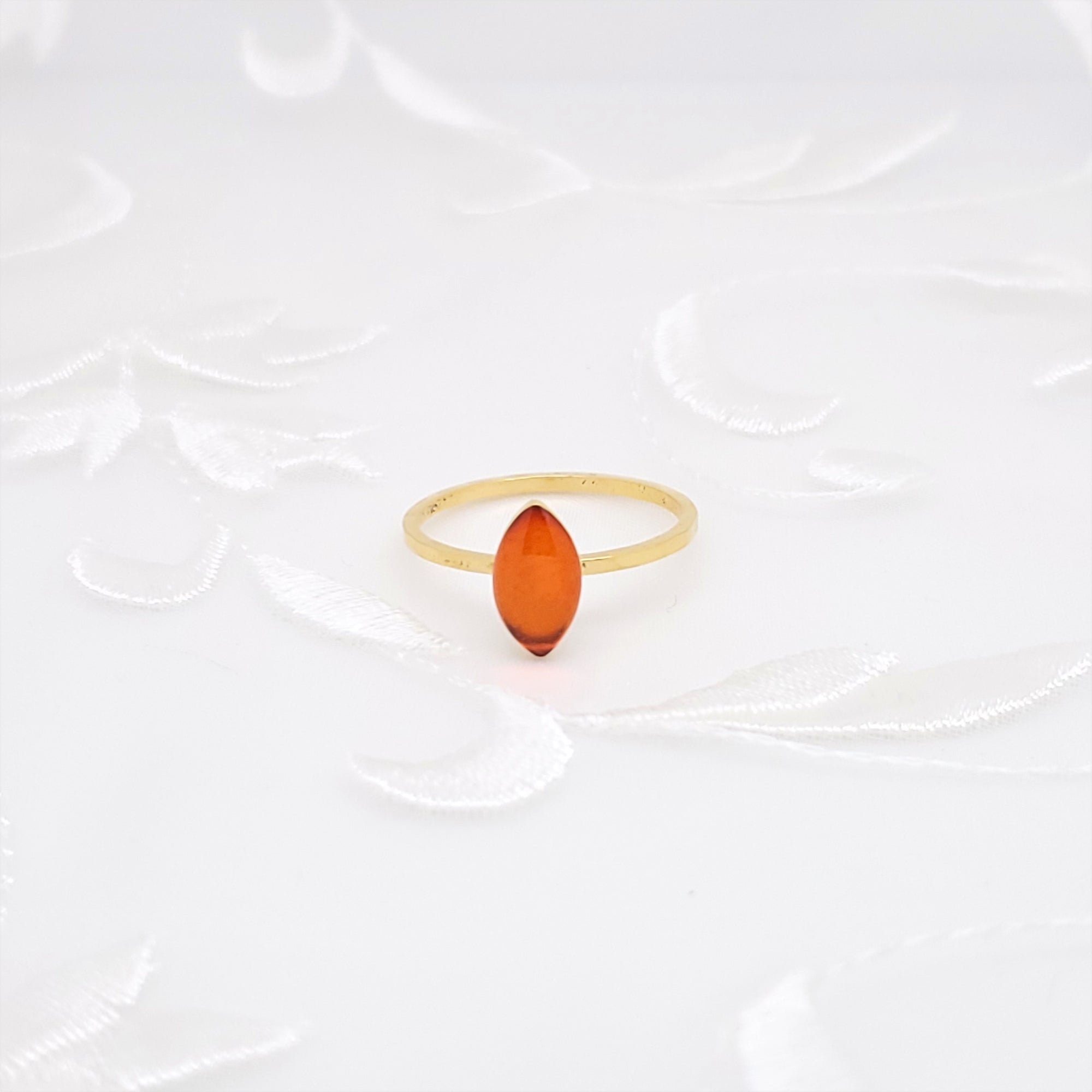 Antique Gold Navette Ring with Transparent Orange Resin