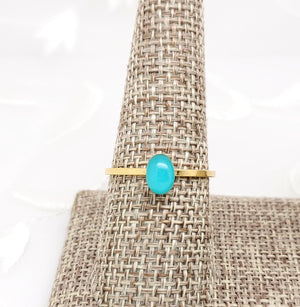 Antique Gold Oval Ring with Sky Blue Resin