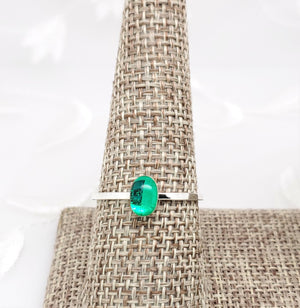 Sterling Silver Plated Oval Ring with Transparent Green Resin