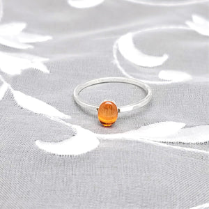 Sterling Silver Plated Oval Ring with Transparent Orange Resin