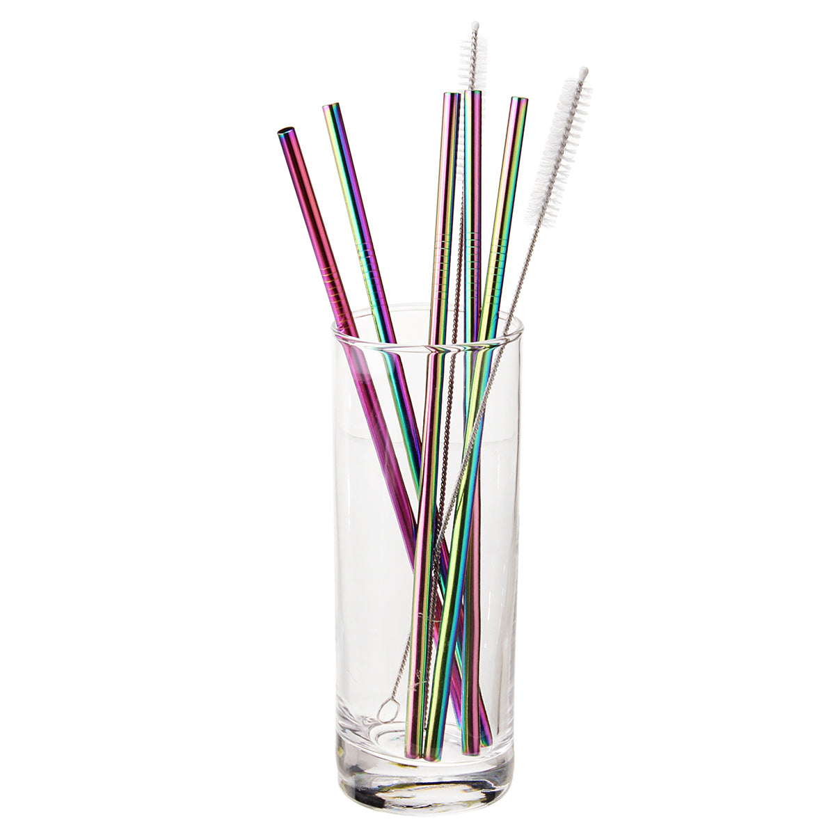 7 Piece Stainless Steel Reusable Drinking Straw Brush Set