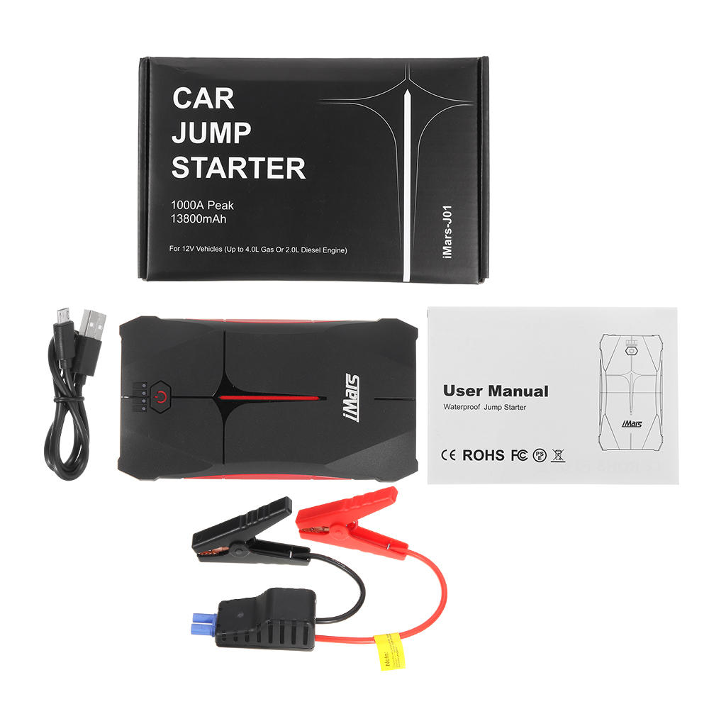 Portable Car Jump Starter 1000A 13800mAh Powerbank Emergency Battery Booster Waterproof with LED Flashlight USB Port