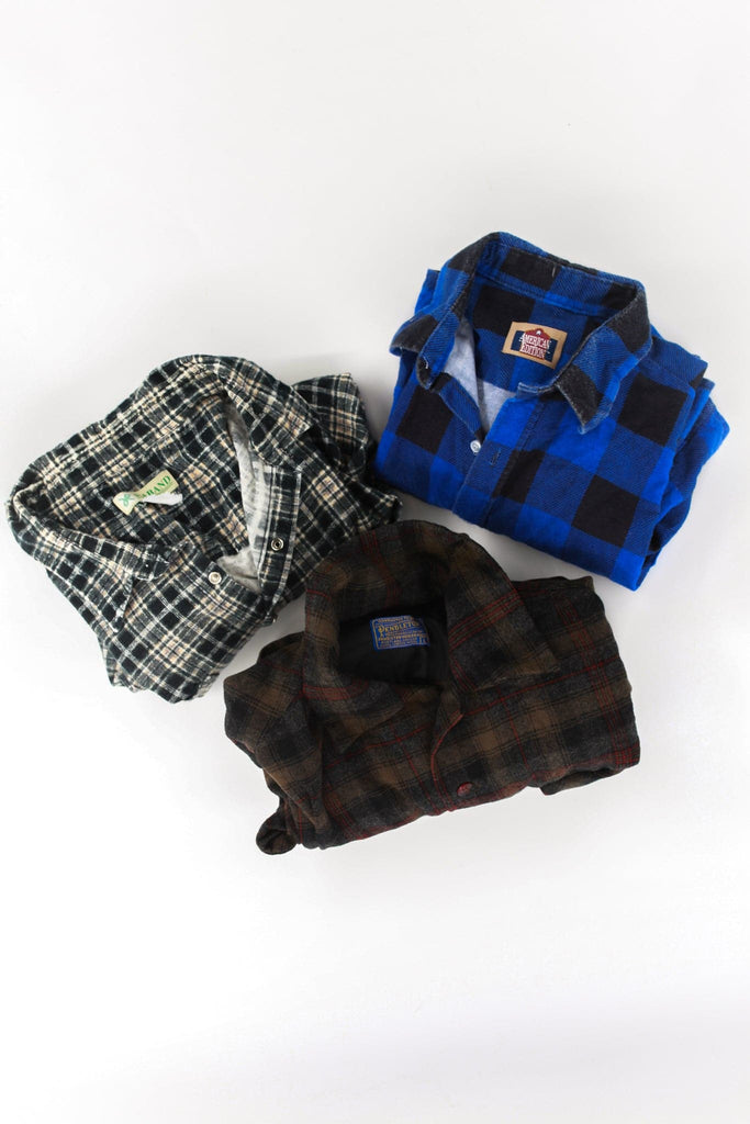 Vintage Men's Cotton Flannel Shirt Mix of 10
