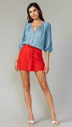Load image into Gallery viewer, Holtz Linen Shorts in Red