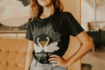 Load image into Gallery viewer, Twin Swans T-Shirt - Smoke