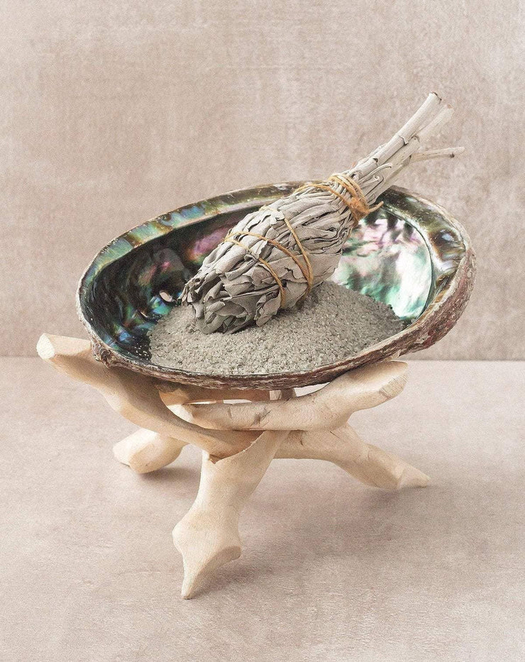 Abalone Shell Smudge Pot on Wood Stand