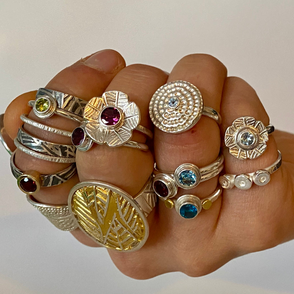 Handcrafted rings, silver, gold, gemstones, Leaf Collection, Mandala Collection