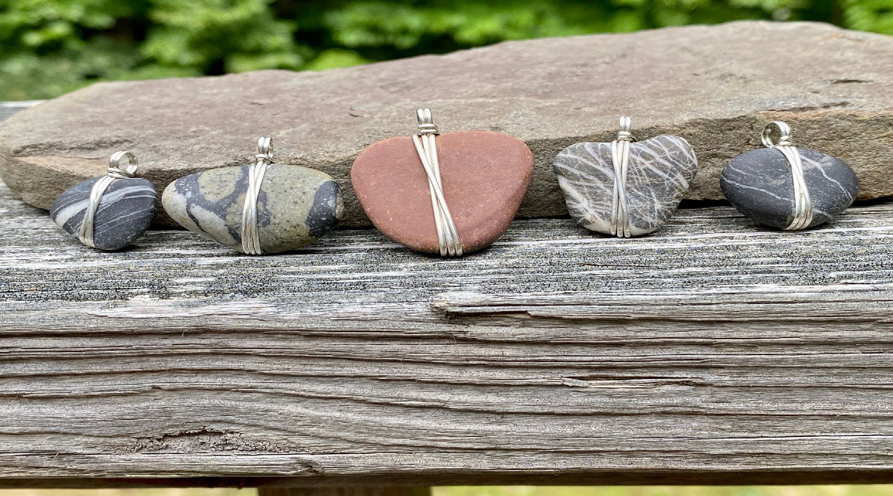 beach stone, wrapped silver, necklace, pendant