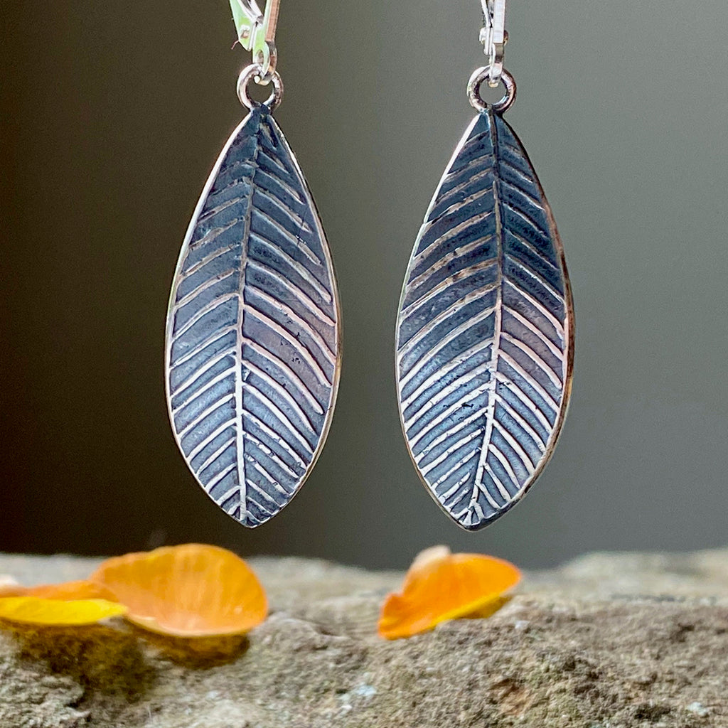 Oxidized Silver Leaf Earrings