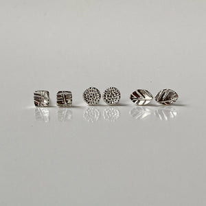 earrings, tiny studs, silver, leaf, mandala, posts, gift
