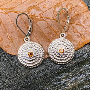 silver, citrine, mandala, earrings