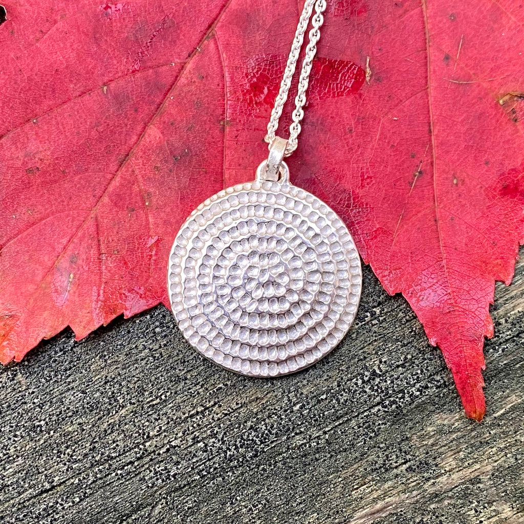 silver, necklace, pendant, mandala, spiral