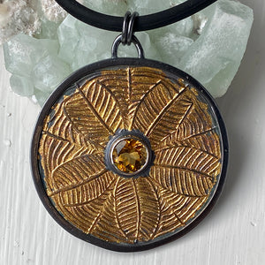Keum-boo Sunflower Necklace