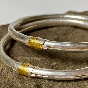 Silver Bangle with Gold Crescent