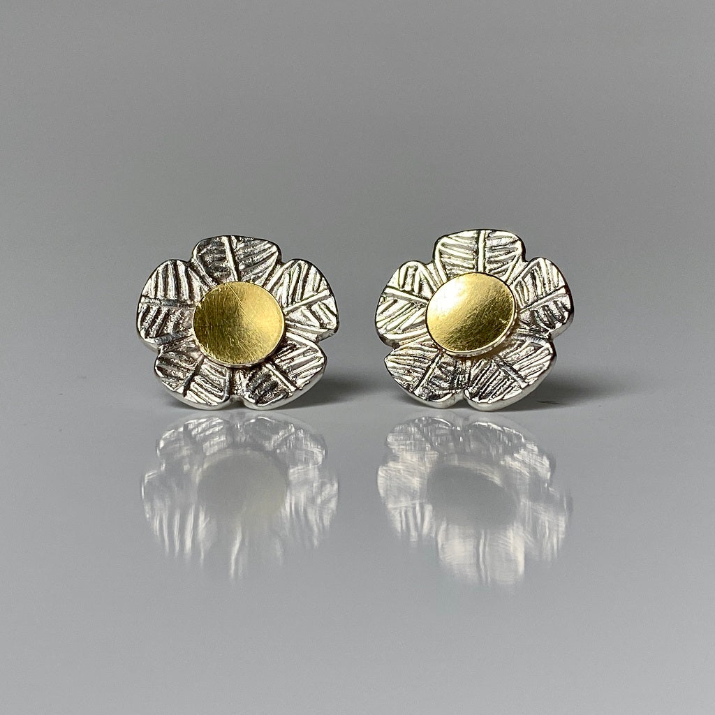 fine silver, studs, gold, 22-karat, earrings