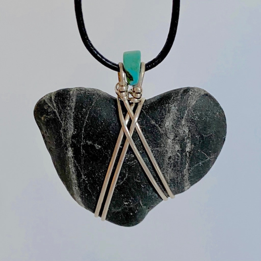 beach stone necklace, silver, turquoise, necklace, pendant